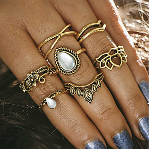 cheap Rings-Women's Ring Set Midi Rings Stackable Rings Moonstone 6pcs Gold Silver Alloy Ladies Romantic Bar Festival Jewelry Vintage Style Flower