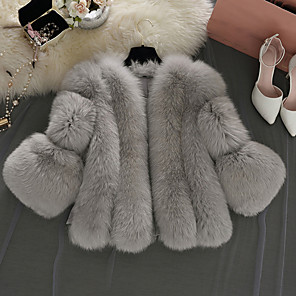cheap Wedding Wraps-Long Sleeve Coats / Jackets Faux Fur Wedding / Party / Evening Women's Wrap With Solid