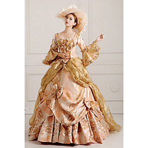 cheap Dog Clothes-Rococo Victorian 18th Century Dress Party Costume Masquerade Women's Lace Cotton Costume Golden Vintage Cosplay Party Prom Long Sleeve Floor Length Long Length Ball Gown / Hat / Petticoat / Floral