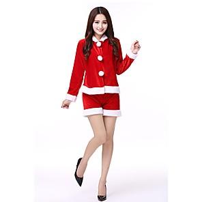 povoljno Santa odijela & Božićna haljina-Santa Clothe Odrasli Žene Halloween Božić Božić Halloween Karneval Festival / Praznik Polyster Red Karneval kostime Jednobojni Božić