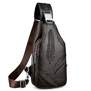 billiga Ryggsäck med en axelrem-Herr Väskor PU läder Sling axelremsväska Dragkedja för Dagligen Mörkbrun / Svart