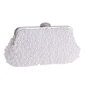 cheap Women's Heels-Women's Bags Polyester Evening Bag Pearls Crystals for Wedding / Party / Event / Party White / Beige / Wedding Bags