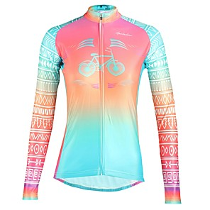 cheap Cycling Jerseys-ILPALADINO Women's Long Sleeve Cycling Jersey Winter Fleece Elastane Fuchsia Floral Botanical Bike Top Mountain Bike MTB Road Bike Cycling Breathable Quick Dry Ultraviolet Resistant Sports Clothing