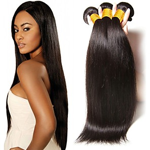 cheap 3 Bundles Human Hair Weaves-3 Bundles Hair Weaves Brazilian Hair Straight Human Hair Extensions Remy Human Hair 100% Remy Hair Weave Bundles 300 g Natural Color Hair Weaves / Hair Bulk Human Hair Extensions 8-28 inch Natural