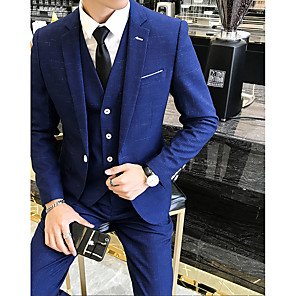 cheap Wedding Party Dresses-Solid Colored / Striped Tailored Fit Polyester Suit - Slim Notch Single Breasted One-button / Suits