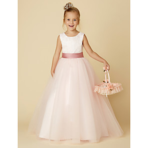 cheap Movie & TV Theme Costumes-Princess Floor Length Wedding / Birthday / Pageant Flower Girl Dresses - Satin / Tulle Sleeveless Jewel Neck with Lace / Appliques