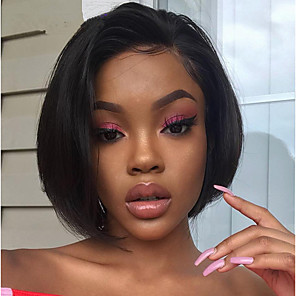 cheap Human Hair Wigs-Remy Human Hair Full Lace Lace Front Wig Bob Asymmetrical style Brazilian Hair Straight Natural Straight Natural Black Wig 130% 150% 180% Density with Baby Hair Women Easy dressing Best Quality
