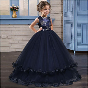 cheap Movie & TV Theme Costumes-Cinderella Princess Dress Party Costume A-Line Dress Flower Girl Dress Girls' Kid's Organza Costume Navy Blue / Burgundy Vintage Cosplay Sleeveless