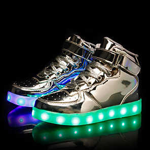 cheap Kids' LED Shoes-Men's Light Up Shoes Fall & Winter Sporty / LED / Casual Daily Party & Evening Sneakers Walking Shoes PU Breathable Gold / Silver