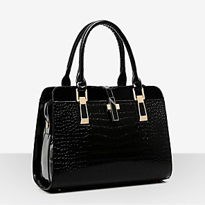 cheap Handbag & Totes-Women's Zipper Patent Leather Tote Solid Color White / Black / Red / Fall & Winter