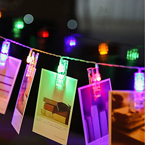 cheap LED String Lights-ZDM 4M 40 pcs LED Photo String Lights 40 Photo Clips Battery Powered or USB Interface Fairy Twinkle LightsHanging Photos Cards and Artwork Warm White DC5V
