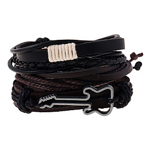 cheap Men's Bracelets-Men's Leather Bracelet Braided Music Guitar Vintage European Fashion Leather Bracelet Jewelry Brown For Daily