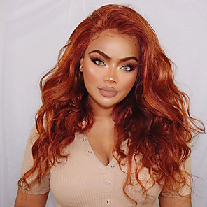 cheap Synthetic Trendy Wigs-Synthetic Wig Synthetic Lace Front Wig Wavy Natural Wave Layered Haircut Lace Front Wig Blonde Long Orange Synthetic Hair 24 inch Women's Cosplay Soft Heat Resistant Blonde Modernfairy Hair