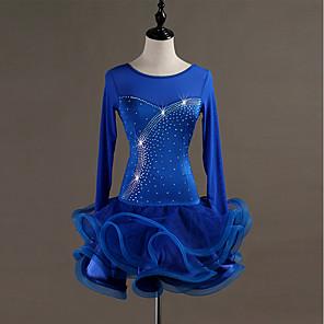 cheap Latin Dancewear-Latin Dance Dress Crystals / Rhinestones Women's Training Performance Long Sleeve High Spandex Tulle