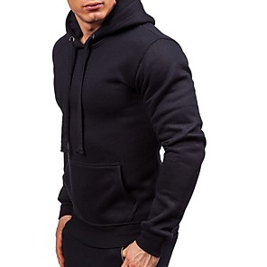 cheap Fitness Gear & Accessories-Men's Shirred Hoodie & Sweatshirt Solid Color Running Fitness Top Long Sleeve Activewear Breathable Quick Dry Anatomic Design Stretchy