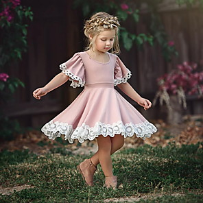 cheap Movie & TV Theme Costumes-Toddler Girls' Sweet Party Dusty Rose Flower Lace Short Sleeve Dress Blushing Pink