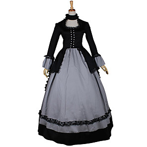 cheap Historical & Vintage Costumes-Rococo Victorian 18th Century Dress Party Costume Masquerade Women's Lace Satin Costume Vintage Cosplay Long Sleeve Long Length Ball Gown