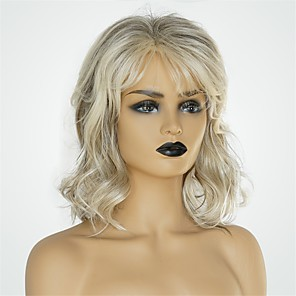 cheap Human Hair Capless Wigs-Human Hair Blend Wig Medium Length Body Wave Asymmetrical Short Hairstyles 2020 Dark Gray Multi-color Hot Sale Natural Hairline Capless Women's Grey 12 inch