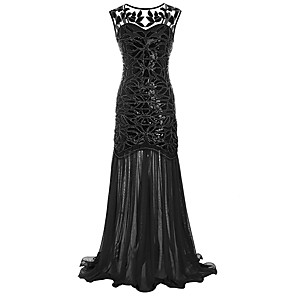 cheap Historical & Vintage Costumes-The Great Gatsby Charleston 1920s Roaring Twenties Flapper Dress Women's Lace Sequins Costume Black / Golden / Black+Golden Vintage Cosplay Party Homecoming Prom Sleeveless Floor Length / Leaf