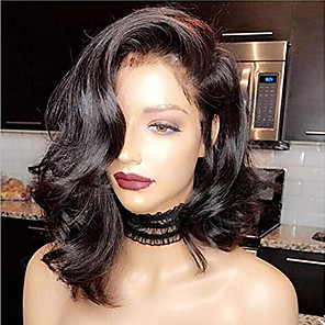 cheap Synthetic Trendy Wigs-Human Hair Lace Front Wig Bob Short Bob Wendy style Brazilian Hair Wavy Black Wig 130% Density with Baby Hair Natural Hairline For Black Women 100% Virgin Bleached Knots Women's Short Human Hair Lace