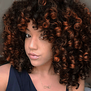 cheap Synthetic Trendy Wigs-Synthetic Extentions Afro Curly Bouncy Curl Asymmetrical With Bangs Wig Short Ombre Black / Medium Auburn Black / Grey Black / Burgundy Natural Black Dark Brown / Medium Auburn Synthetic Hair 14 inch