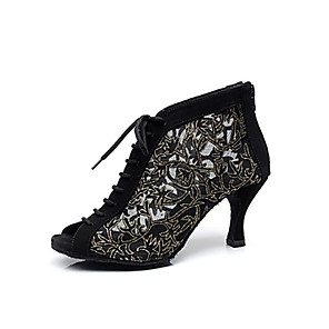 cheap Wedding Shoes-Women's Dance Shoes Synthetics Modern Shoes / Ballroom Shoes Lace-up Boots Stiletto Heel Customizable Black / Leather / EU38