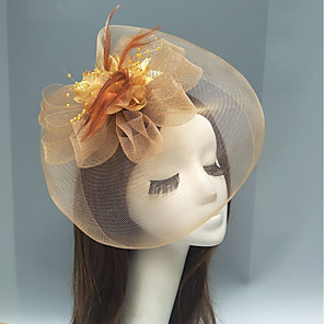 cheap Hair Jewelry-Feather / Net Fascinators / Headpiece with Feather / Floral / Flower 1pc Wedding / Special Occasion / Horse Race Headpiece