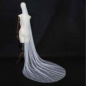 cheap Wedding Veils-One-tier Elegant & Luxurious / Love Wedding Veil Chapel Veils with Faux Pearl / Studded / Trim Tulle / Angel cut / Waterfall