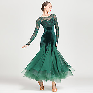 cheap Ballroom Dancewear-Ballroom Dance Dress Draping Split Joint Women's Training Performance Long Sleeve High Chiffon Lace Pleuche