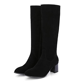 cheap Women's Boots-Women's Boots Knee High Boots Plus Size Chunky Heel Closed Toe Daily PU Knee High Boots Black / Yellow / Gray