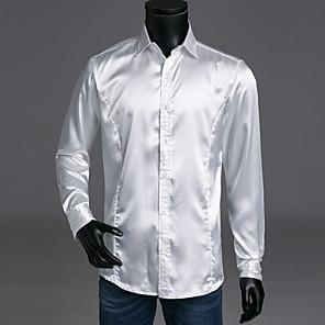 cheap TV Boxes-Men's Solid Colored Basic Slim Shirt Luxury Daily Spread Collar White / Black / Blue / Red / Yellow / Blushing Pink / Orange / Khaki / Long Sleeve