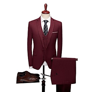 cheap Custom Suits-Solid Colored Tailored Fit Polyester Suit - Notch Single Breasted One-button / Suits