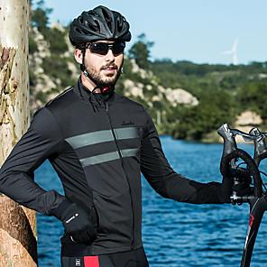 povoljno Biciklističke majice-SANTIC Muškarci Biciklistička jakna Bicikl Majice Prozračnost, Ugrijati Jednobojni Elastan Crn Odjeća za vožnju biciklom / Rastezljivo