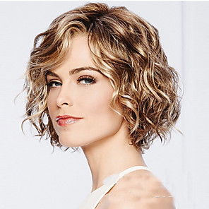 cheap Synthetic Trendy Wigs-Synthetic Wig Water Wave Bob Wig Blonde Short Light Blonde Synthetic Hair 12INCH Women's Adjustable Heat Resistant Classic Blonde