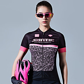 cheap Cycling Jersey & Shorts / Pants Sets-SANTIC Women's Short Sleeve Cycling Jersey Black / Pink Bike Jersey Top Breathable Sweat-wicking Sports 100% Polyester Mountain Bike MTB Road Bike Cycling Clothing Apparel / Stretchy / Advanced