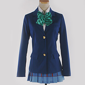 cheap Anime Costumes-Inspired by Love Live Cosplay Anime Cosplay Costumes Japanese Cosplay Suits School Uniforms Plaid / Checkered Solid Colored Cravat Coat Blouse For Men's Women's / Top / Skirt / Top / Skirt