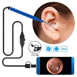 cheap Test, Measure & Inspection Equipment-3.9mm  3 in 1 PC version HD visual ear oral endoscope 1500mm - blue
