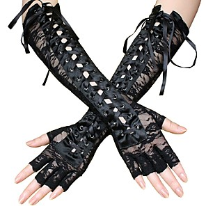 cheap Lolita Dresses-Plague Doctor Steampunk Lace Up Roaring 20s Gloves Women's Lace Costume Head Jewelry Black Vintage Cosplay