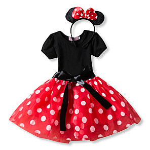 cheap Movie & TV Theme Costumes-Princess Mouse Vintage Cartoon Cute Dress Party Costume Girls' Kid's Costume Head Jewelry Red / Pink Vintage Cosplay Sleeveless