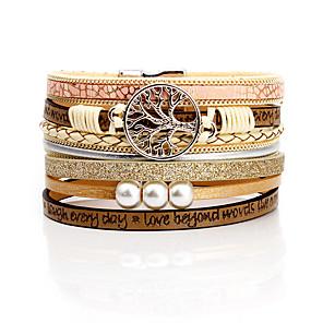 cheap Bracelets-Women's Cuff Bracelet Braided Tree of Life Simple Alloy Bracelet Jewelry Black / Pink / Dark Gray For Formal