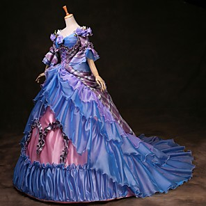 cheap Historical & Vintage Costumes-Cinderella Princess Victoria Style Rococo Dress Outfits Party Costume Masquerade Women's Costume Rainbow Vintage Cosplay Party Prom 3/4 Length Sleeve