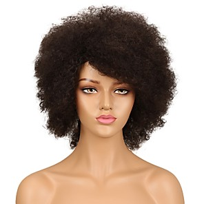 cheap Human Hair Capless Wigs-Remy Human Hair Full Lace Lace Front Wig Asymmetrical Rihanna style Brazilian Hair Afro Curly Black Wig 130% 150% Density Fashionable Design Women Natural Best Quality Hot Sale Women's Short Human