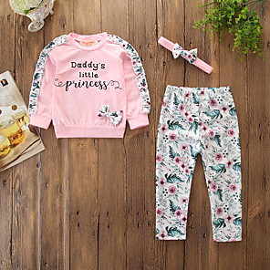 cheap Kids Collection Under $8.99-Baby Girls' Active / Basic Daily / Holiday Floral / Print Bow / Print Long Sleeve Regular Cotton Clothing Set Blushing Pink / Toddler