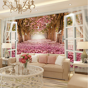 cheap Wallpaper-Wallpaper / Mural Canvas Wall Covering - Adhesive required Floral / Botanical / 3D