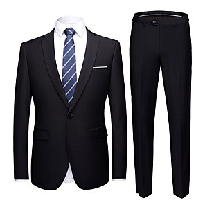 cheap Custom Tuxedo-Tuxedos Tailored Fit Notch Single Breasted One-button Polyester Solid Colored