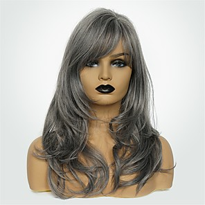cheap Synthetic Trendy Wigs-Synthetic Wig Body Wave Side Part Wig Long Grey Synthetic Hair 20 inch Women's Fashionable Design New Arrival Natural Hairline Dark Gray