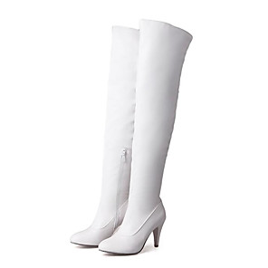 cheap Women's Boots-Women's Boots Over-The-Knee Boots Stiletto Heel Closed Toe PU Over The Knee Boots Winter Black / Almond / White
