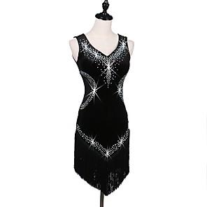 cheap Latin Dancewear-Latin Dance Dress Tassel Crystals / Rhinestones Women's Training Performance Sleeveless High Pleuche