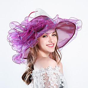 cheap Historical & Vintage Costumes-Queen Elizabeth Audrey Hepburn Retro Vintage Kentucky Derby Hat Fascinator Hat Women's Organza Costume Hat Golden / Purple / Orange Vintage Cosplay Party Party Evening