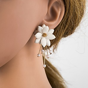 cheap Necklaces-Women's Stud Earrings 3D Flower Ladies Stylish Classic Imitation Pearl Resin S925 Sterling Silver Earrings Jewelry Beige / White For Daily 1 Pair
